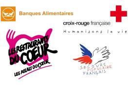 Les Restos du cœur, le Secours populaire, La Croix-Rouge et la Fédération française des Banques alimentaires (FFBA)