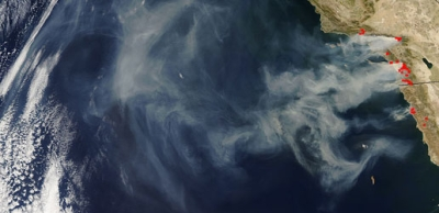 Les incendies de Californie vus d'un satellite de la Nasa le 24 octobre 2007 - NASA/MODIS