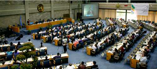 Opening session on the TUNZA Internation Youth Conference at UNEP Headquarters in Nairobi, Kenya